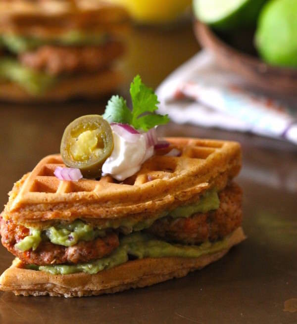 spiced-mini-waffle-breakfast-sandwiches-with-chicken-chorizo-guacamole