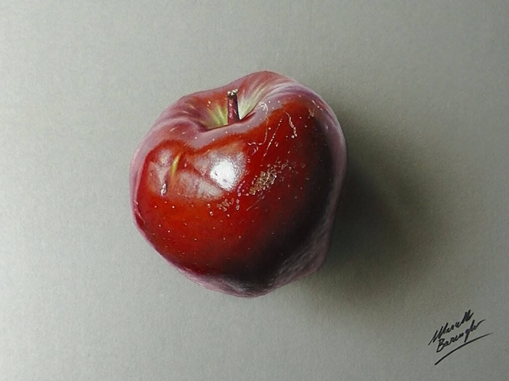 Apple drawing hyperrealism by marcellobarenghi dajdwky