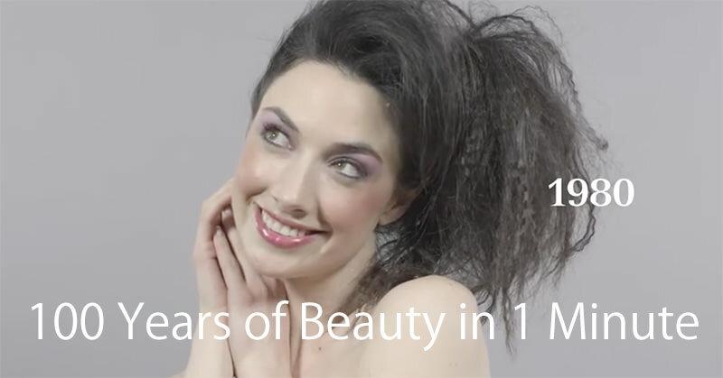 100年分のヘアスタイルとメイクアップ術をまとめた動画