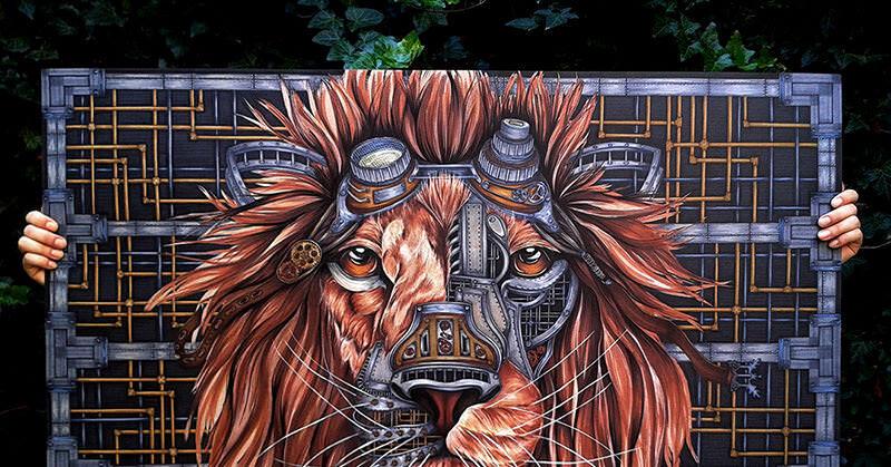 スチームパンクなライオンのイラストがすごい!