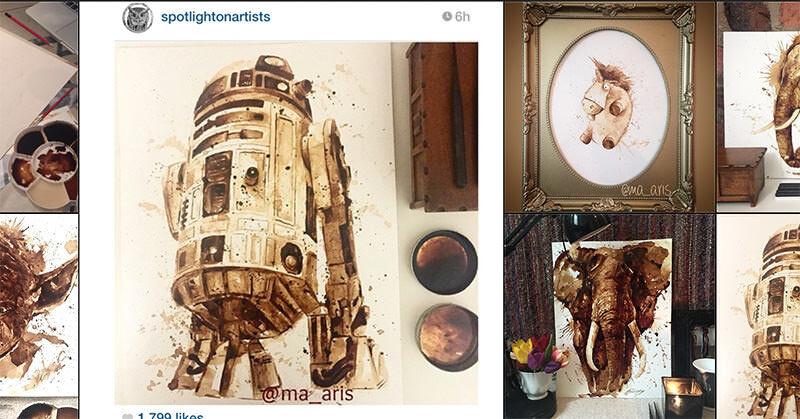 UKのアーティストMaria A. Aristidouによるコーヒーを使ったイラスト