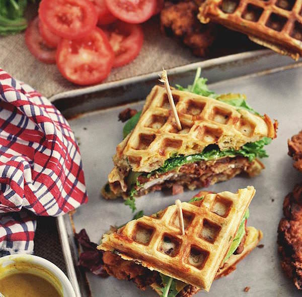 Chicken-and-Waffle-Sandwiches-with-Bacon-Cheddar-and-Green-Onion1