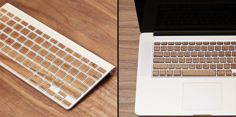 Apple Macのキーボードに貼れるリアルウッドスキン