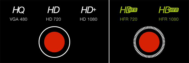 ProCamera(プロカメラ)はHQ,HDに加え、iPhone 6/6Plusに対応したHFR撮影が可能となった