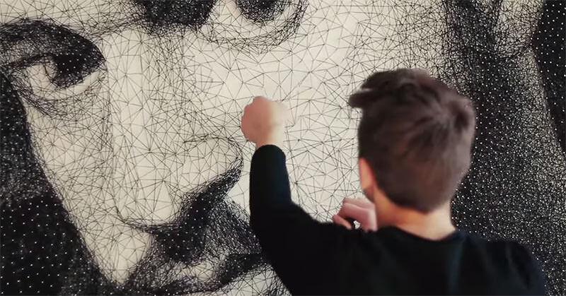 13000本の釘と24kmの糸で作られた男性の肖像画