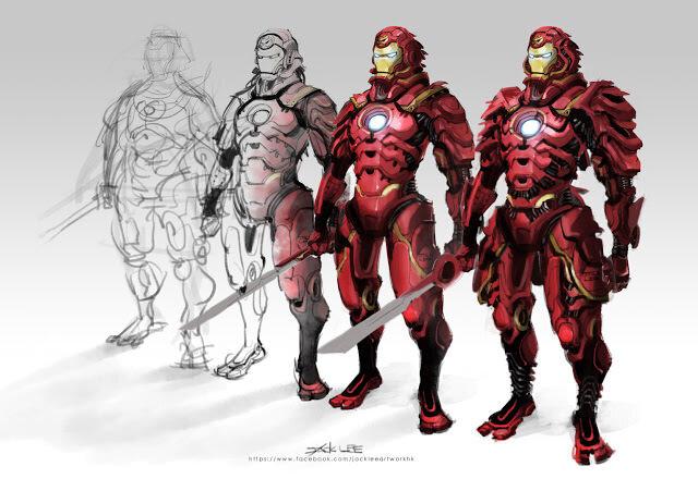 鎧兜姿がかっこいいアイアンマンのイラスト
