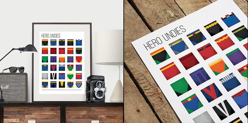スーパーヒーローのパンツばかりに注目したポスター