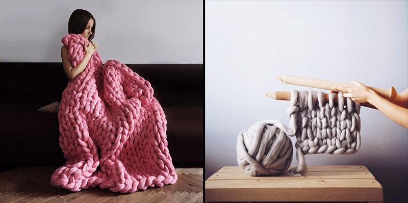 羊毛をふんだんに使った、特大のニット毛布