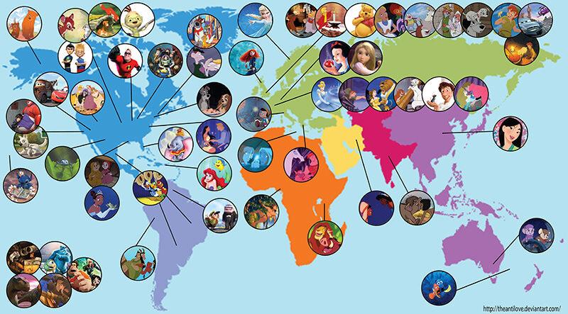 ディズニーの舞台がわかるワールドマップ「Disney Map」