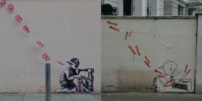 バンクシーをパロディーしたストリートアート風作品