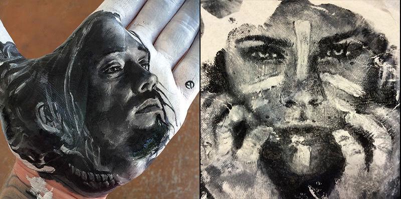 手に描いてペタ!手を使う版画のようにアート