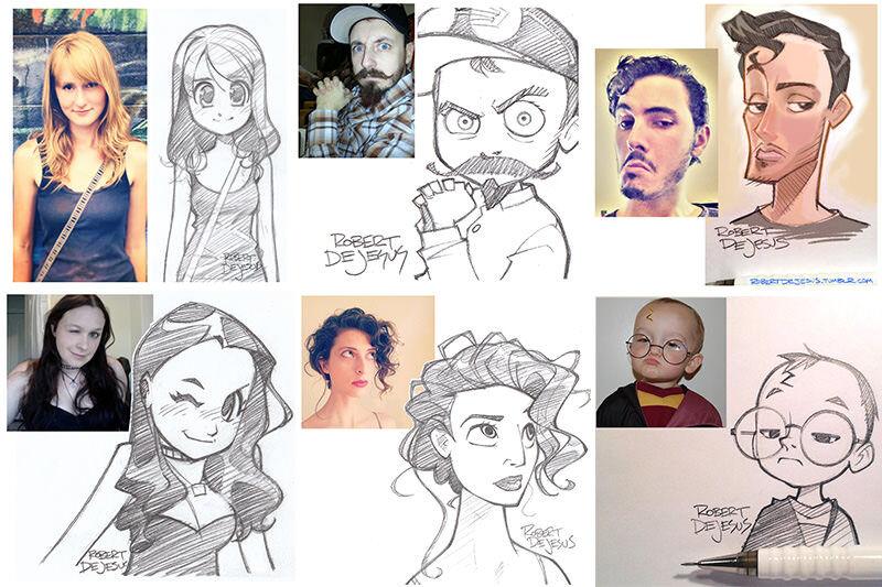人物の写真からカワイイアニメ風イラスト描くRobert DeJesus