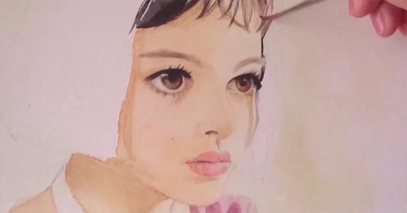 水彩画でLEONのナタリー・ポートマンが描かれていく様子が素晴らしい!