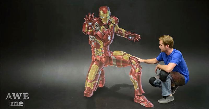 チョークで書かれた3Dアイアンマンがすごい!