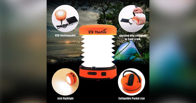 いざという時に役立つ手動充電可能な折り畳み式モバイルライト
