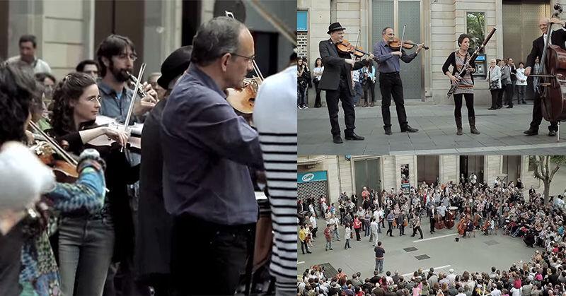 少女がお金を入れると…大通りで行われたクラシックのフラッシュモブ