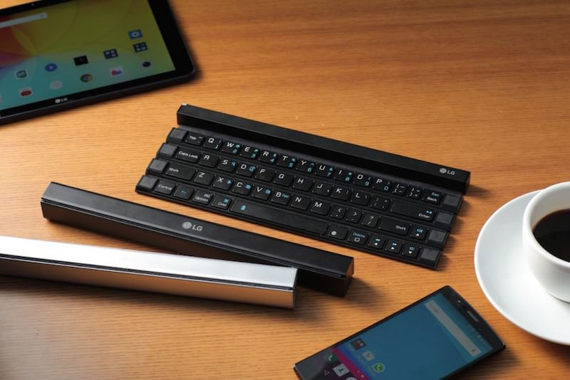 LG、ロール状に丸められコンパクトにできるキーボードRolly Keyboard
