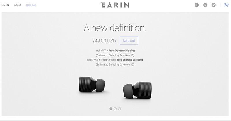 非常に小さいワイヤレスイヤホン EARIN の販売開始→即完売!