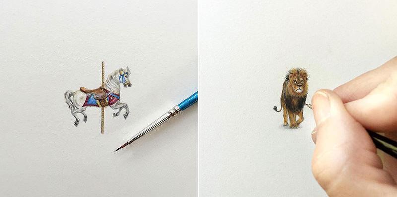 ミニチュアイラストアーティストKaren Libecapが描く小さいイラスト