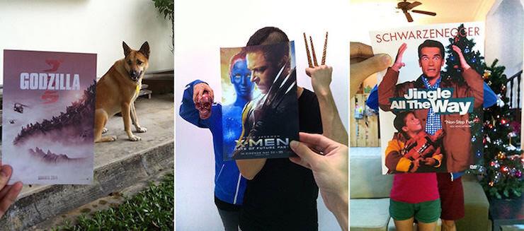 映画のポスターと人物を組み合わせた写真トリック
