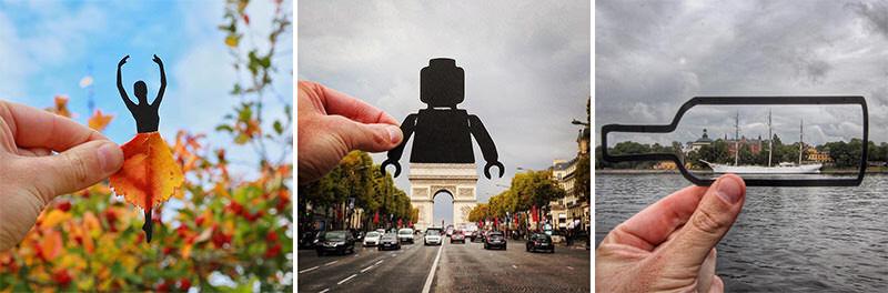 カットした紙と背景を合わせると…想像力は無限大!