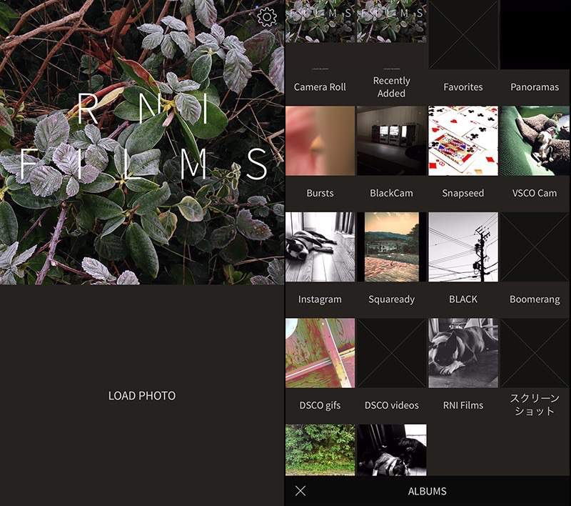 RNI-Films メイン画面