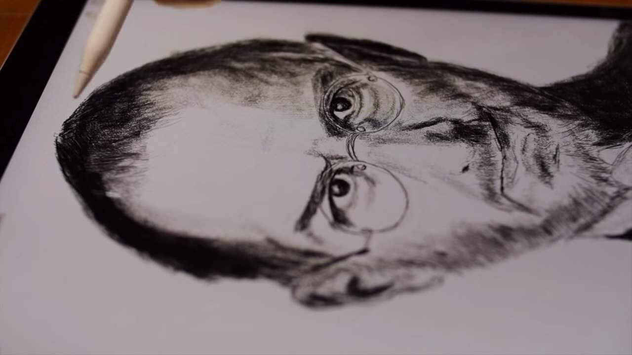 iPad ProとApple Pencilを使って描かれるスティーブ・ジョブズの肖像画、メモ帳アプリを使用