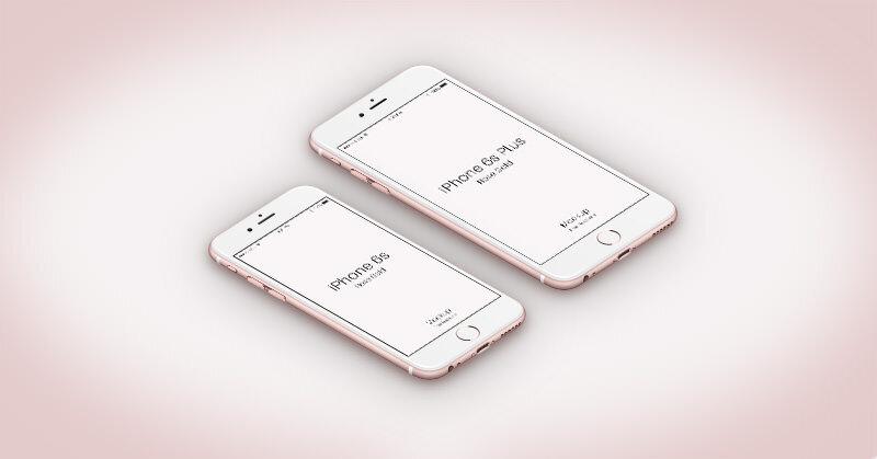 iPhone 6sのPSDモックアップ素材 ローズカラー