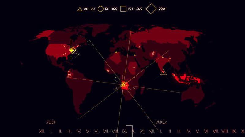 2000年から2015年の事件までに行われたテロの被害をタイムラプスで紹介する動画