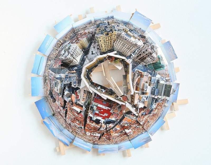写真をたくさんつなげてアナログで全天球写真を表現したPLANETS