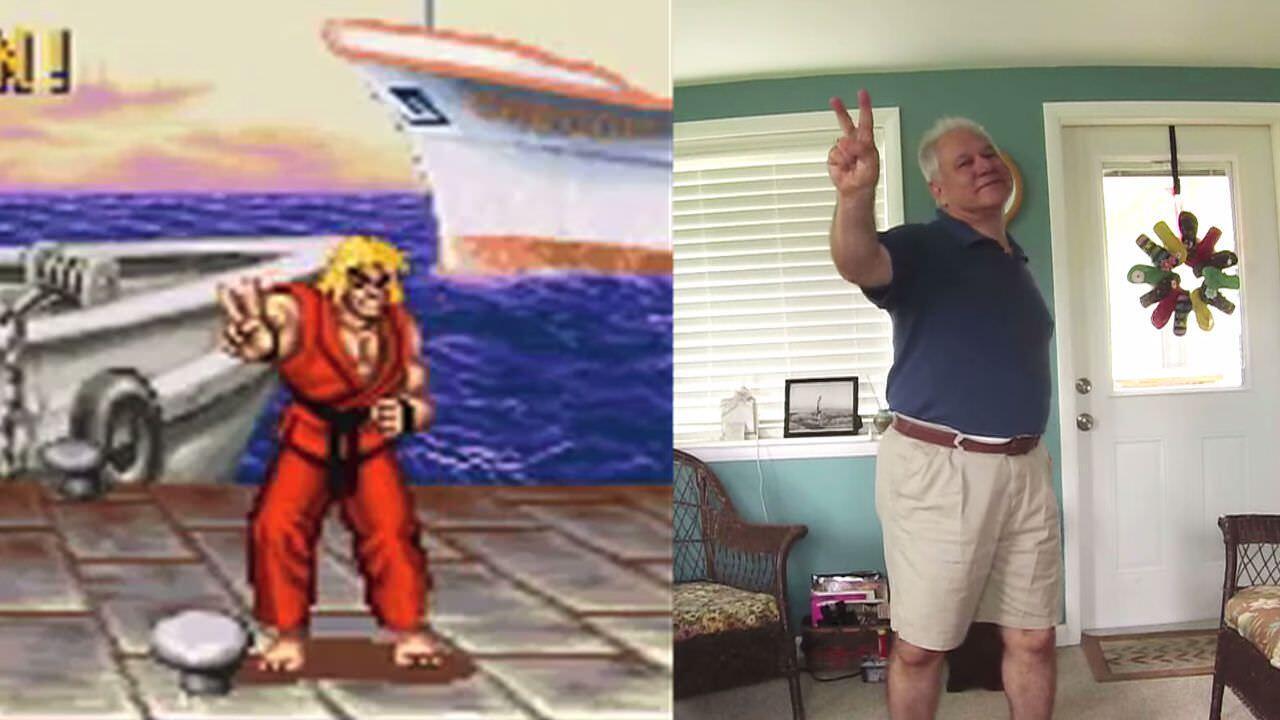 ゲームのキャラクターの真似をする父