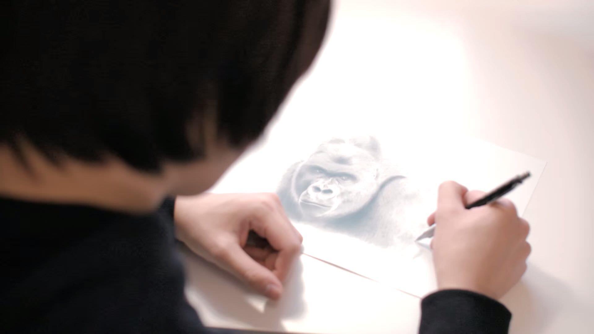 イケメンゴリラをシャーペンでリアルに描く人の正体は徳田有希さんだった