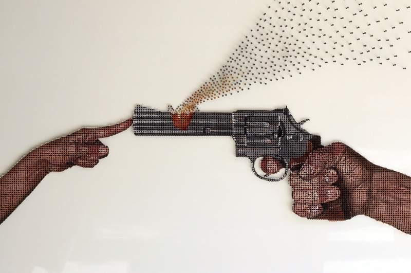 ネジで作られたドットアート:Andrew Myers