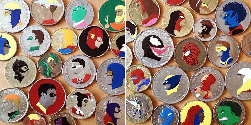 コインの顔を魔改造したアート:Painted Coins