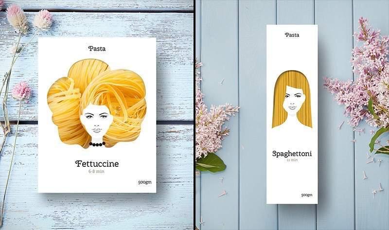 女性の髪をイメージしたパスタのパッケージデザイン