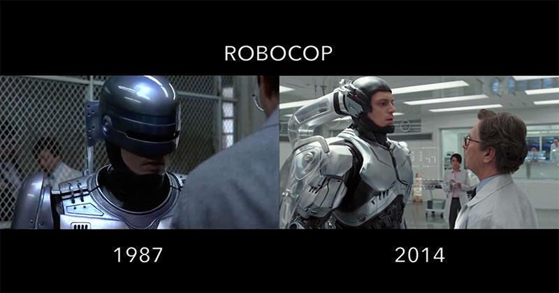 色々な映画リメイク作品のマッシュアップ、新旧作品の同じシーン