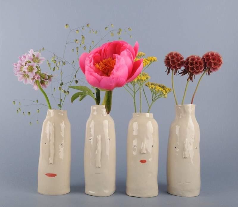 色々なユルイ表情のある植木鉢:Rachel Sender