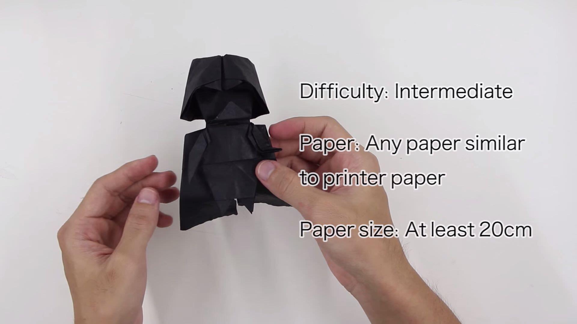 折り紙でスター・ウォーズ、ダース・ベイダーの作り方