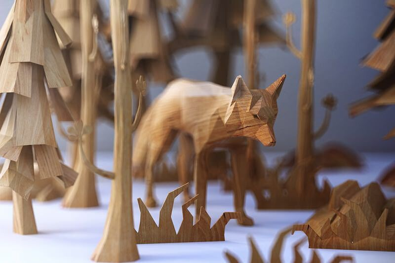 木のぬくもりの有る3Dアート作品