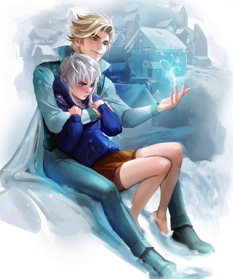 Snowy couple by sakimichan d79bd2c 800x958