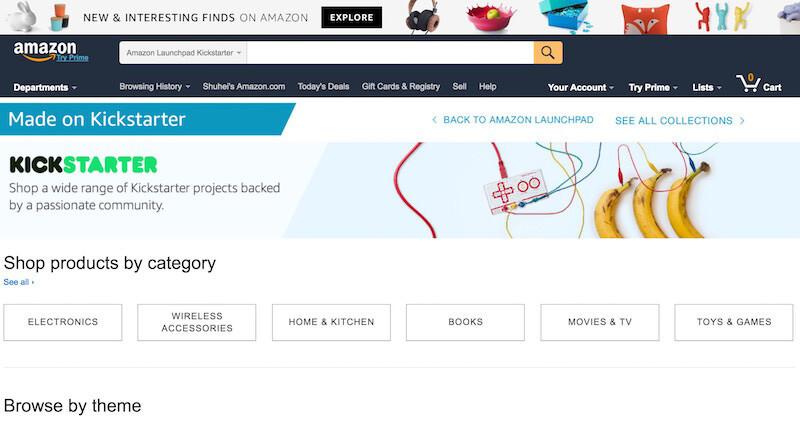 米AmazonにKickstarterのプロダクト専用のページがある