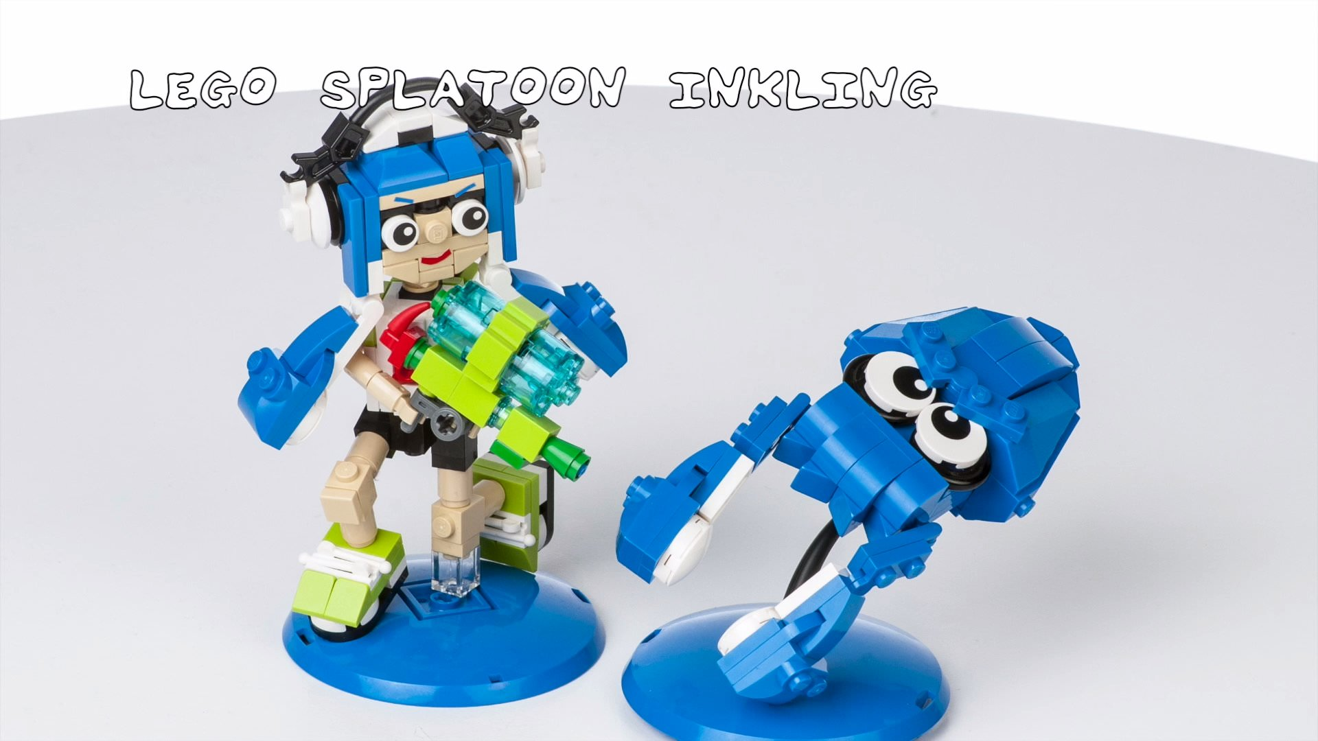 LEGOで作ったスプラトゥーンのイカガールとイカ