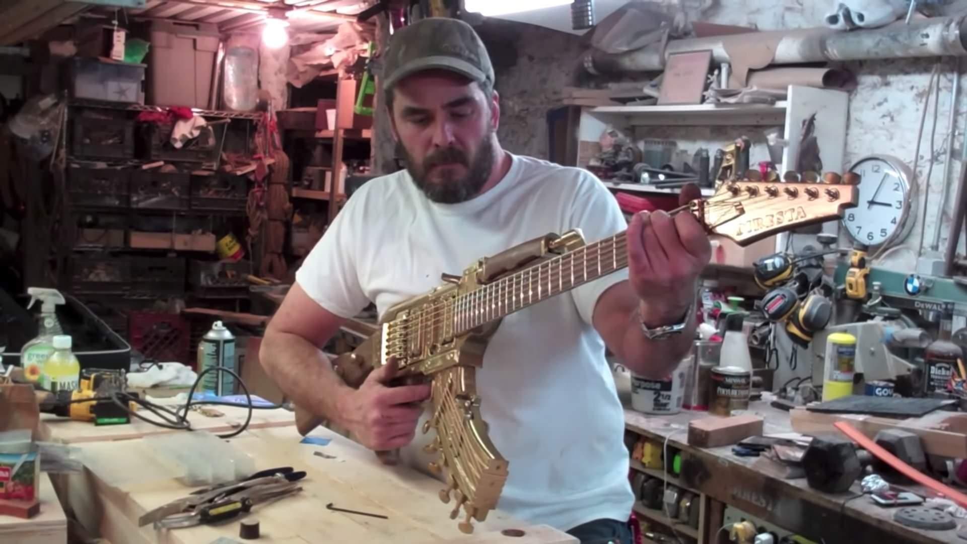 エレキギターをAK47っぽく改造!カッコいい!