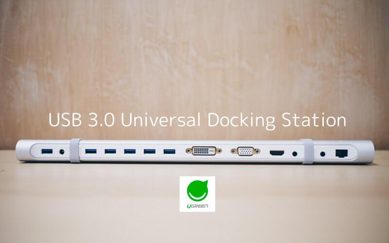 Ugreenのドッキングステーション、USB3.0ハブ HDMI DVI VGA 有線LANが全部入り