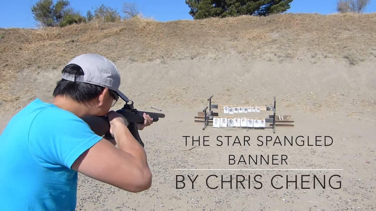 銃を使って、アメリカの国歌「Star Spangled Banner」を奏でる人:Chris Cheng