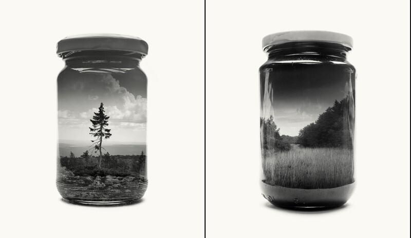 瓶の中に収めたフィンランドの風景、アナログ写真の多重露光で出来るアート作品