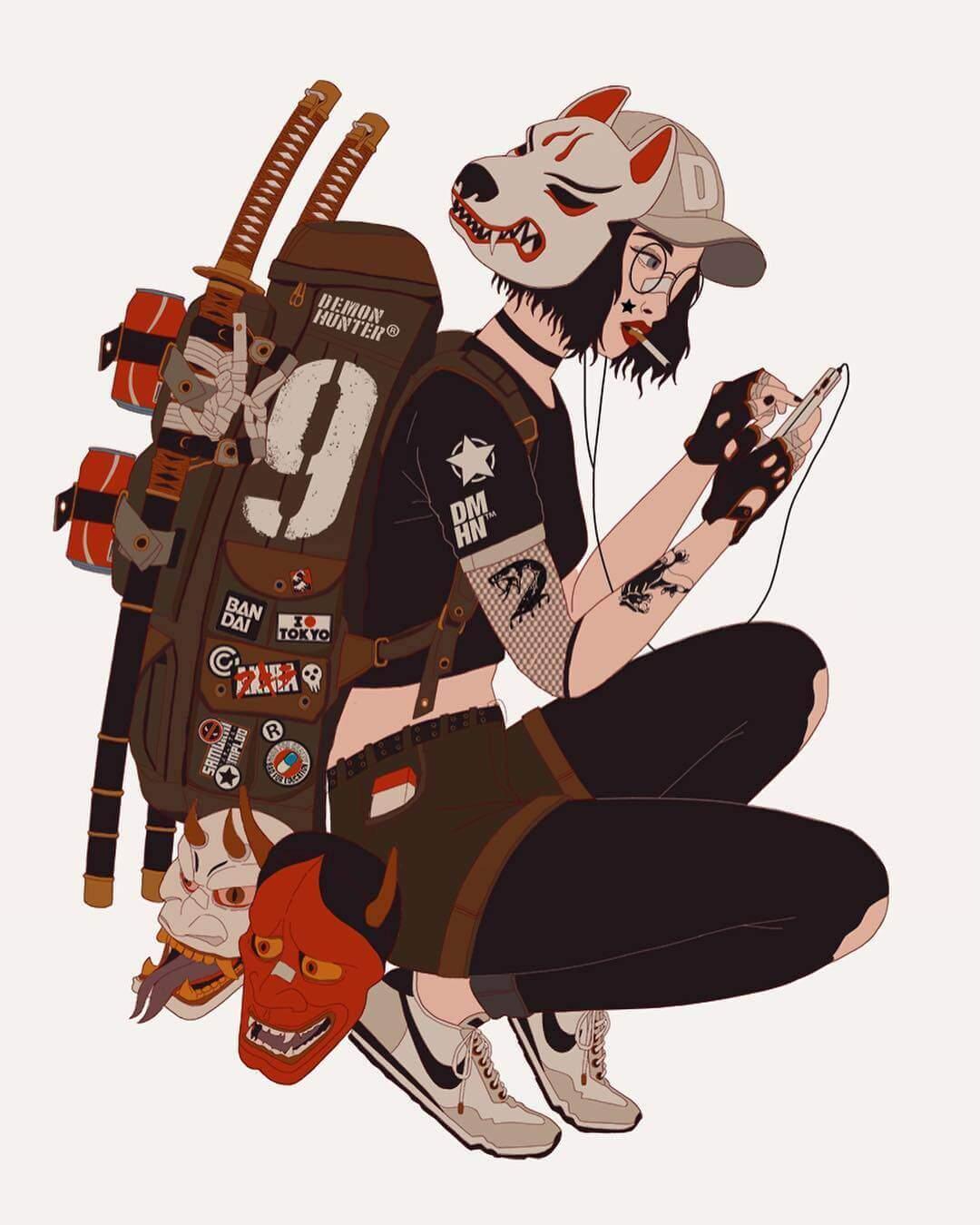 刀ファッションがクールなジャパニーズテイストのイラスト:199hates