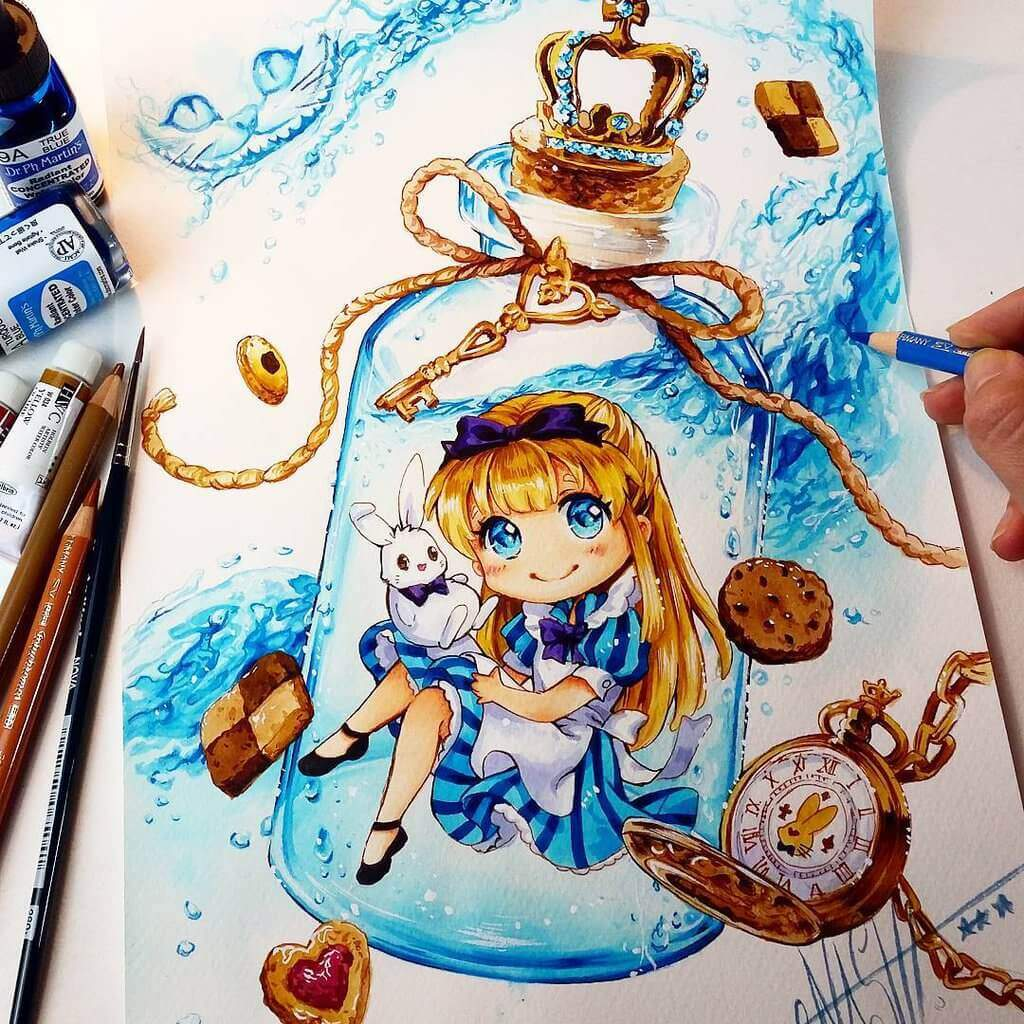 Alice in the bottle by naschi db1a3zn
