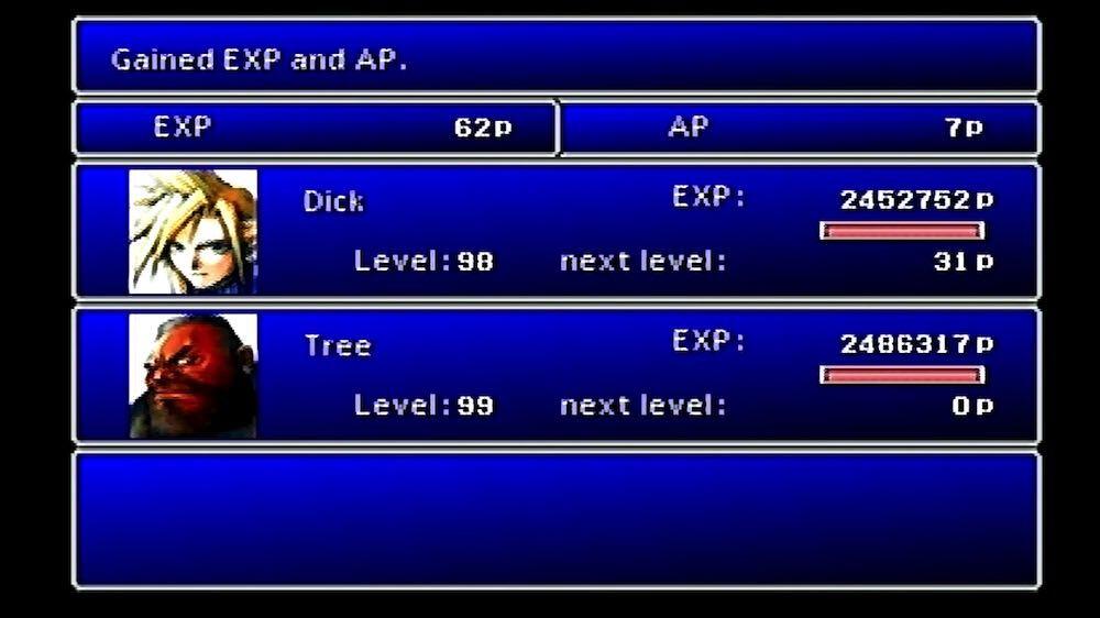 FF7を最初のステージでレベル99までにするというなんともバカげた挑戦
