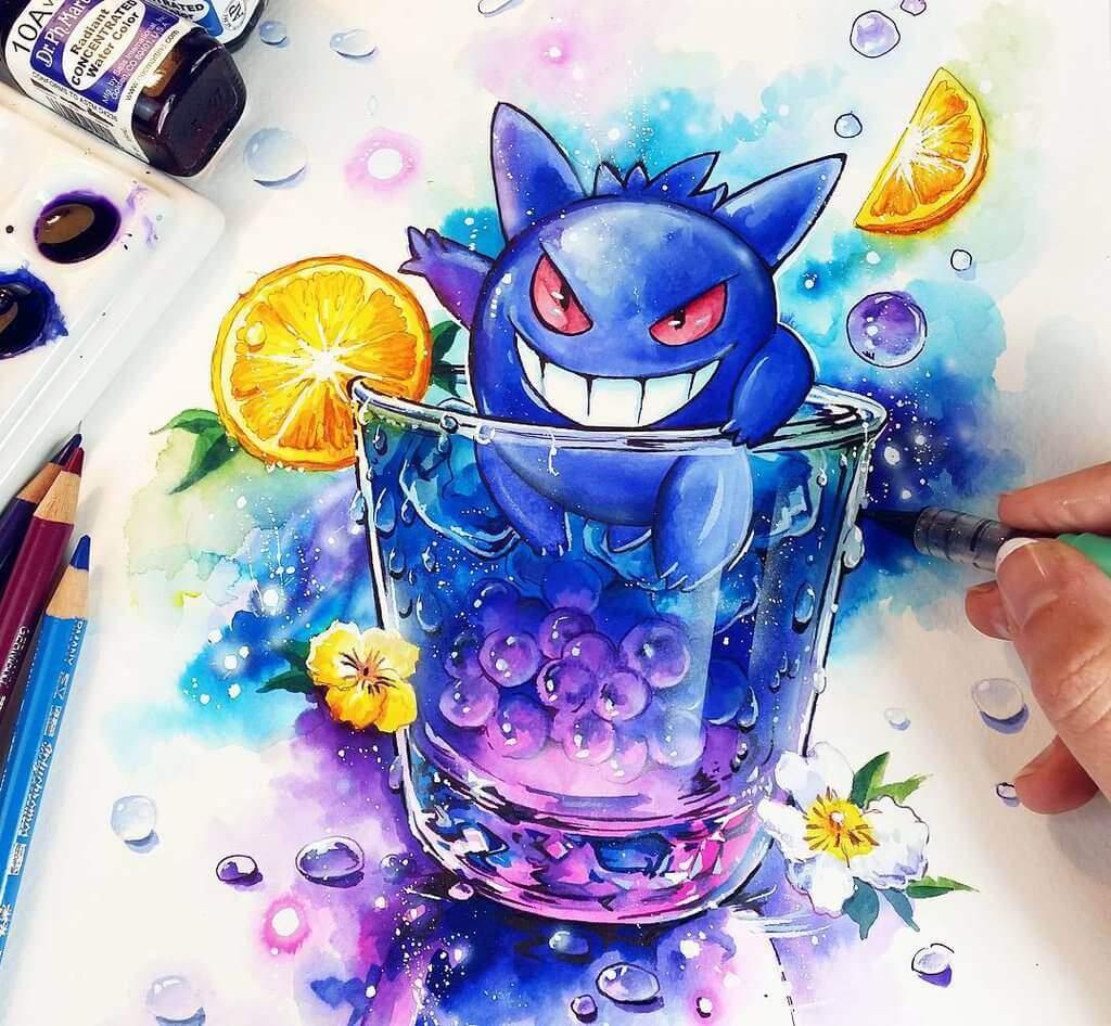 カラフルなキャラクターたちのカクテルを描くイラストアート!:nashi